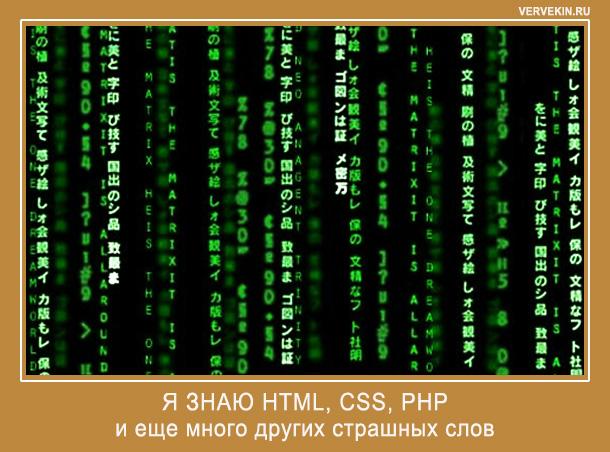 Я знаю HTML, CSS, PHP и еще много других страшных слов