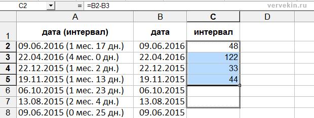 Excel - вычисление интервала между апдейтами ТИЦ