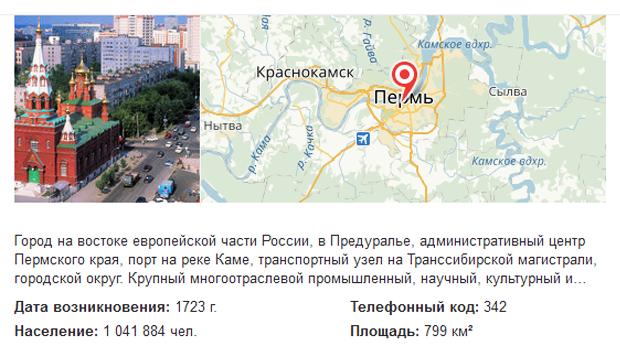 Пермь в поиске Яндекса