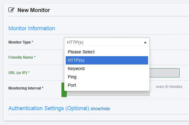 Uptimerobot.com - выбор типа мониторинга