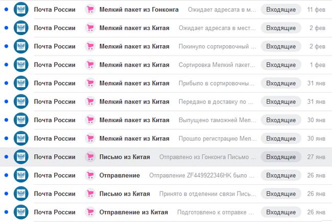 ПОчта России: отслеивание отправлений